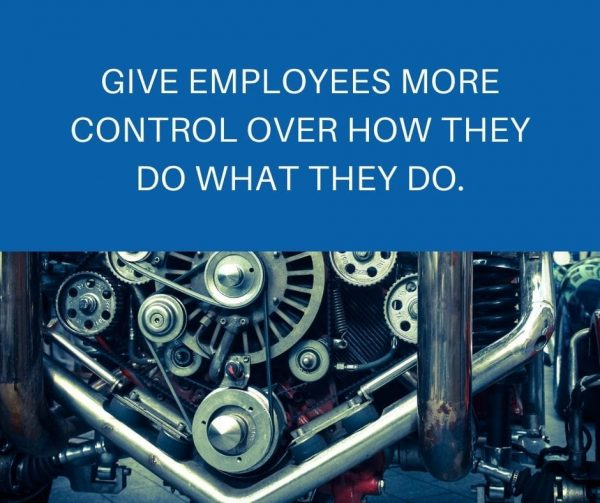 More control over how they do what they do to improve employee engagement.