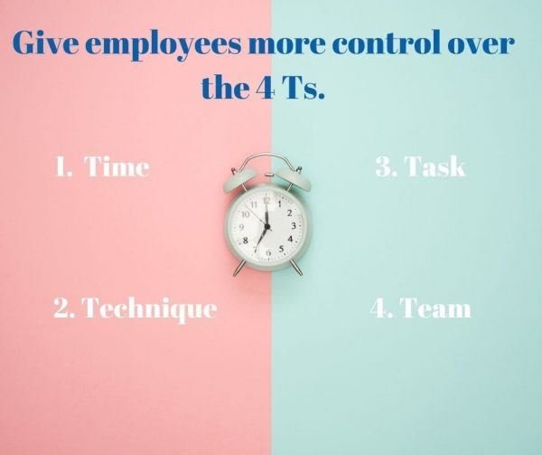 Time, technique, task, and team are best indicators of autonomy at work. It's an essential factor to improving employee engagement.