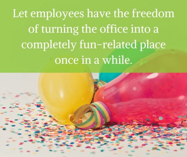 Office parties to improve employee engagement.